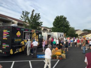 Food trucks in parking lot