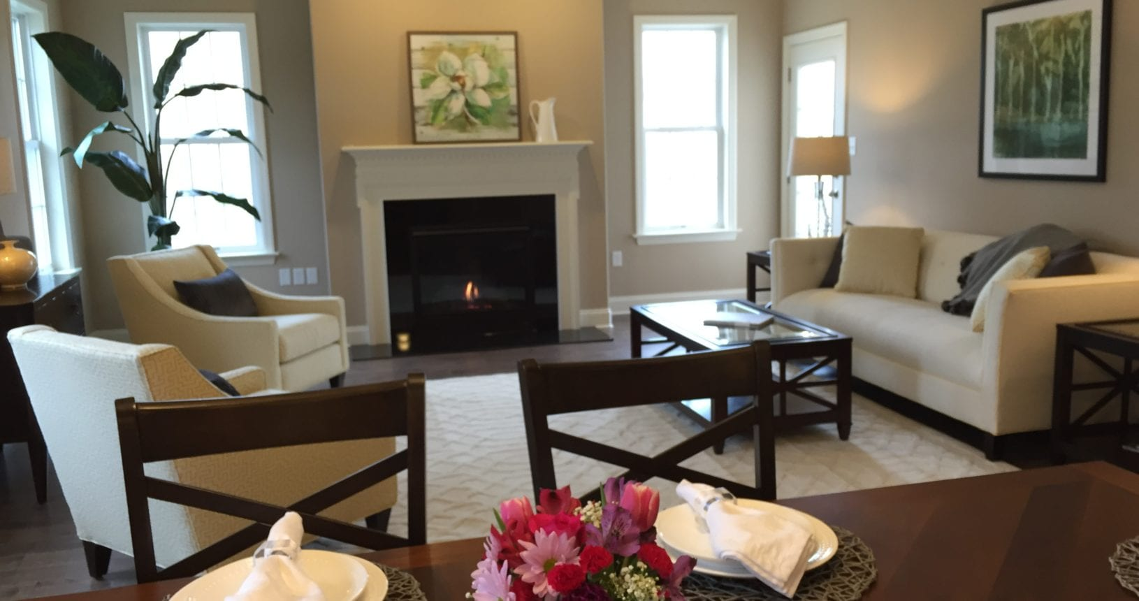 The Boxwood at Homestead Village. Open Floor Plan, full basement, and 2 car garage.