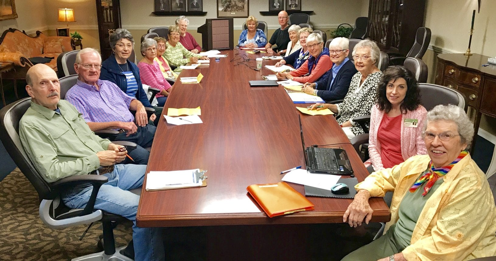 Residents sitting at a Resident Life Committee meeting
