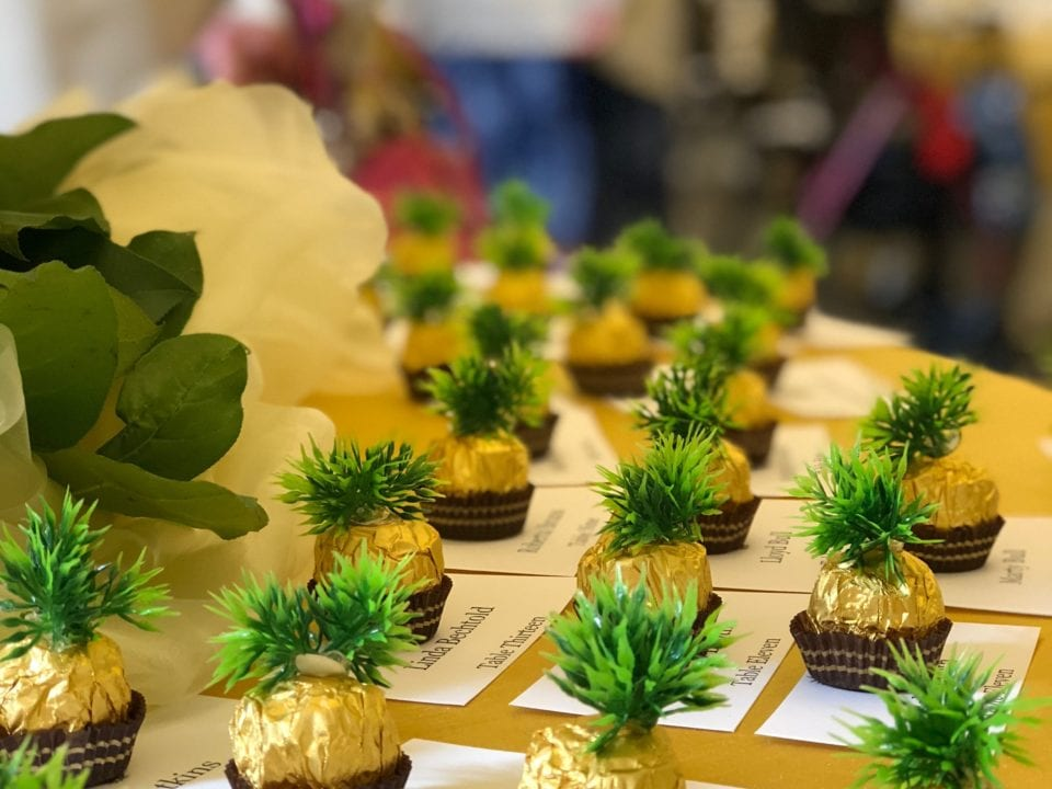 Flower Arrangements and Place Holders at the Homestead Village Legacy Dinner 2018
