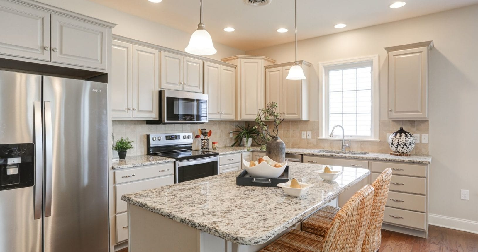 Kitchen in a staged model home at The Farmstead at Homestead Village