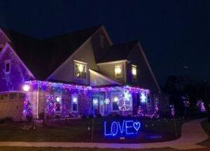 Christmas lights on a home