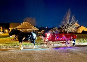 lit up sleigh