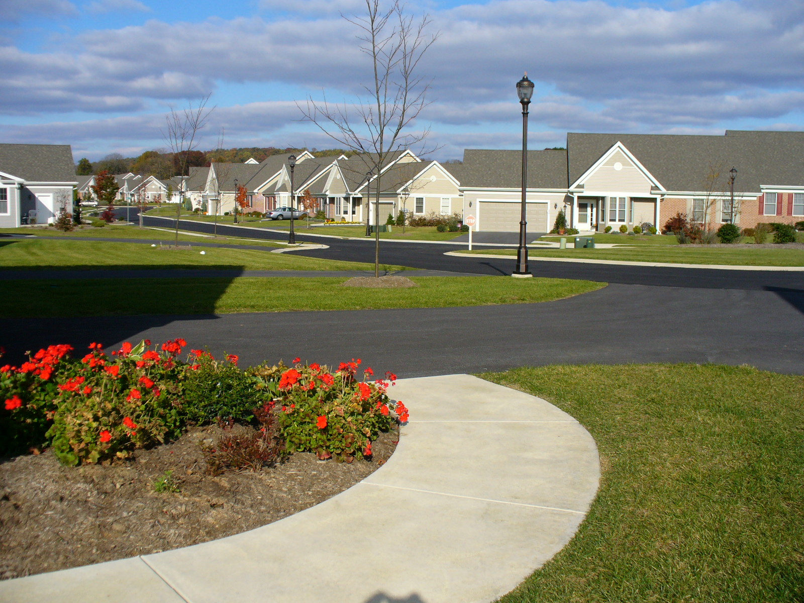 A sidewalk circles around a flower garden in front of home rows
